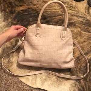 Pink Crocodile Embossed Handbag